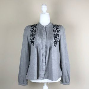 ZARA TRF COLLECTION | Gray + Black Blouse Chic Mod